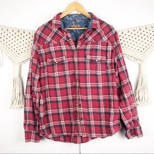⭐️ Jachs Girlfriend red plaid flannel button down